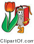 Clip Art of a Red Book Mascot Cartoon Character with a Red Tulip Flower in the Springtime by Toons4Biz