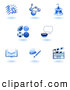Clip Art of a Set of Shiny Blue School Subject Icons by AtStockIllustration