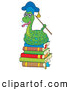 Clip Art of a Snake Professor Holding a Stick on a Stack of Books by Visekart