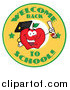 Clip Art of a Welcome Back to School Swaufb and Student Apple Holding a Diploma by Hit Toon