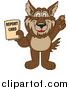 Clip Art of a Wolf School Mascot Holding up a Report Card by Toons4Biz