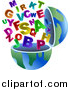 Clip Art of an Open Earth Globe with Alphabet Letters by Prawny