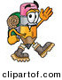Clip Art of an Outdoorsy Pencil Mascot Cartoon Character Hiking and Carrying a Backpack by Toons4Biz