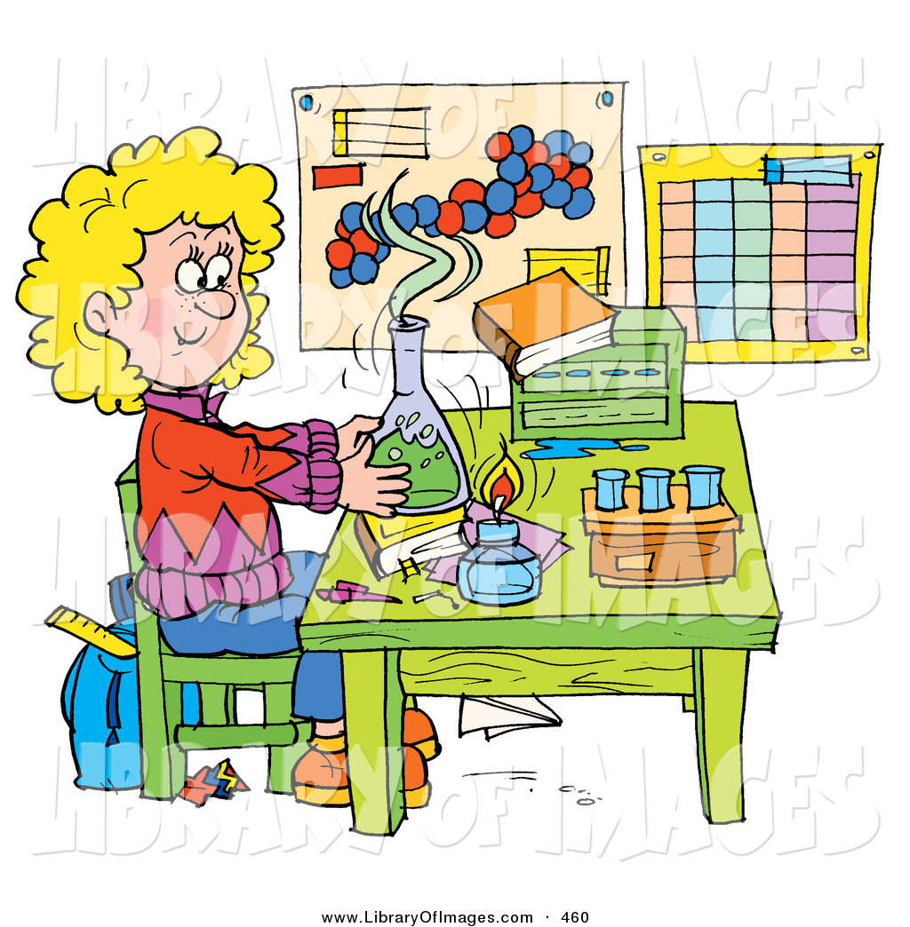 Clip Art Of A Colorful Picture Of A School Girl Conducting -4070